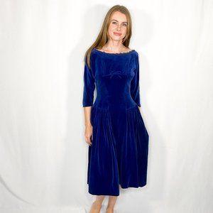 VINTAGE Blue Velvet Midi Boat-Neck Dress